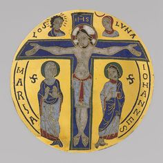 Medallion with the Crucifixion, ca. 1100  France (Conques)  Gilt copper, cloisonné and champlevé enamel  Diam. 4 1/8 in. (10.3 cm)  # (2007.189)  The Metropolitan Museum of Art