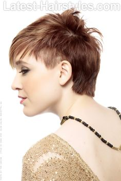 Short Asymmetric Hairstyle with Bangs Side View