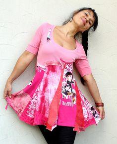 S-M Pink pop art recycled dress tunic hippie boho por jamfashion
