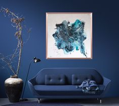 Painting - Blue 100x100cm navy home decor ❤️ #home #navyart #navydecor #navysofa #blue #bluepainting #lagrenavypainting #bluedecor #copperframe #abstractart #abstractpainting  #largeabstractpainting