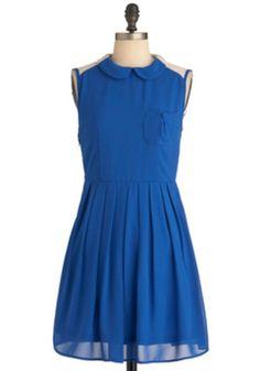 "Modcloth "" Pandemonium in Blue"" dress on #threadflip. Get 20 dollars off of 50 dollar purchase using code: FLIP4FALL"