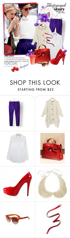"""""""Say cheese!"""" by ts-alex ❤ liked on Polyvore featuring Acne Studios, ASOS, Oliver Peoples, Madewell, leather pumps, purple pants, white shirt, indressme, shrug sweater and bow bag"""