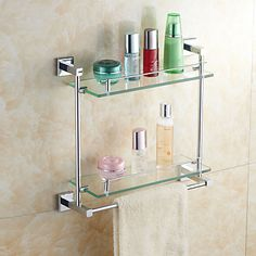 Elegant Brass Double-Deck Glass Bathroom Shelves With Towel Bar - USD $ 87.99