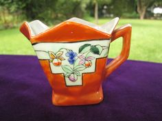 CREAMER PITCHER ART DECO ORANGE TANGO LUSTER FUCHSIA FLOWERS NIPPON JAPAN