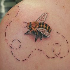 Awesome tattoo... Bumble bee with morse code trail...   ooh we call Z Little Bear... Bear at the end?