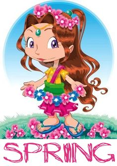 by ddraw Spring girl. Funny cartoon and vector character Illustration Girl, Digital Illustration, Weather For Kids, Alphabet, Spring Girl, English Activities, Seasons Of The Year, Fairy Princesses, Illustrations
