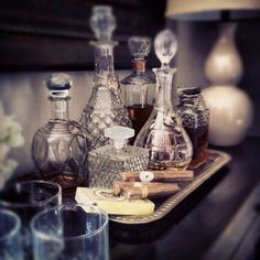 Antique Bar. I have my decanters, now I just need a tray and a bar!