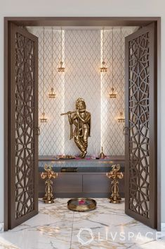 Pooja Room Door Design, Home Room Design, Home Interior Design, House Design, Temple Room, Home Temple, Temple Design For Home, Mandir Design, Puja Room