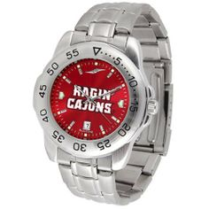 "Louisiana Lafayette Ragin Cajuns NCAA AnoChrome ""Sport"" Mens Watch (Metal Band) by SunTime. $63.00. Rotation Bezel/Timer. Calendar Date Function. Scratch Resistant Face. This handsome, eye-catching watch comes with a stainless steel link bracelet. A date calendar function plus a rotating bezel/timer circles the scratch resistant crystal. Sport the bold, colorful, high quality logo with pride. The AnoChrome dial option increases the visual impact of any watch with a stunning radia..."