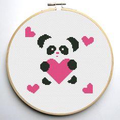 (10) Name: 'Embroidery : Panda Heart Cross Stitch Pattern
