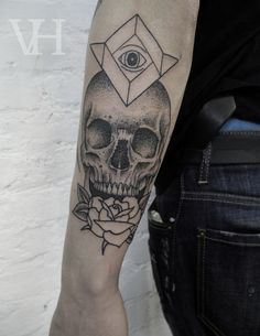 skull, rose, and all-seeing eye tattoo by valentin hirsch