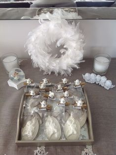 Angel themed baby shower corner with special gifts...
