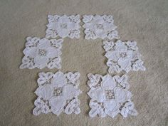 6 White Linen Handmade Heart Coasters by JewelsOfHighElegance, $12.00