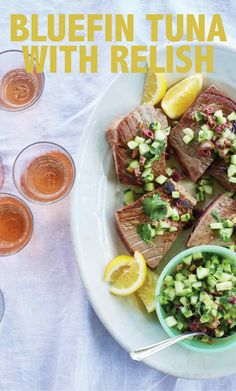 Bluefin Tuna with Olive, Cucumber, and Cilantro Relish | Martha Stewart Living - This recipe, courtesy of Lost Kitchen chef and owner Erin French, also works very well with salmon or swordfish.