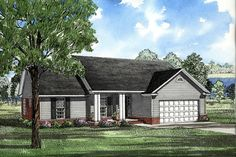 House Plan 82026 | Ranch    Plan with 1525 Sq. Ft., 3 Bedrooms, 2 Bathrooms, 2 Car Garage