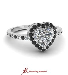 Heart Enduring Ring ||  Heart Shaped Diamond Halo Ring With Black Diamond In 14K White Gold