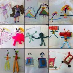 Bonecos em feltro feitos a partir dos desenhos das crianças.