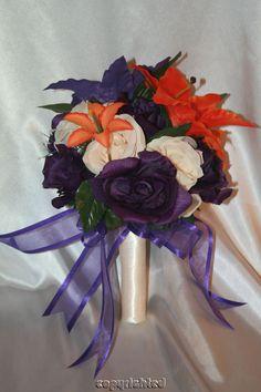 tigerlily wedding bouquets   Bridal Bouquet Purple Ivory Orange Tiger Lily Wedding Silk Flowers