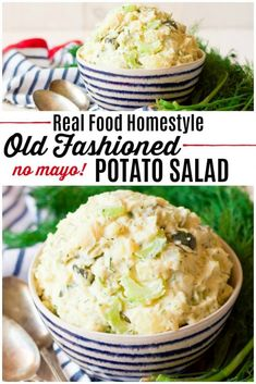 Real Food Potato Salad made the old fashioned way with my grandma's family recipe! This healthier version has no mayo is packed with organic potatoes celery pickles and herbs. Great side dish for BBQ's potlucks & Easter! Gluten Free Sides Dishes, Healthy Side Dishes, Side Dishes Easy, Side Dish Recipes, Healthy Sides, Beef Recipes, Real Food Recipes, Cooking Recipes, Cheap Recipes