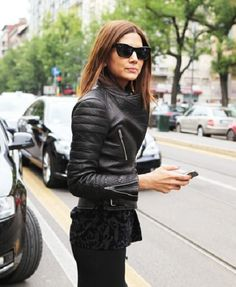 Christine Centenera Street Style wearing Cèline leather jacket and chain bracelet, Givenchy skirt