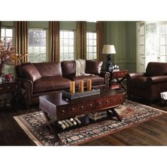 living room ideas with leather chairs soothing colors for 70 best home brown images klaussner alexander sofa amp chair set in pony decor