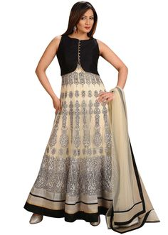 Black and white anarkali featured in silk and net with heavy thread work - Kalkifashion.com