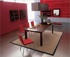 Minimalist dining interior in red