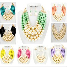 NEW ARRIVALS STYLE N13 Women Fashion Colorful Imitation Pearls Necklace Unique Design Layers Acrylic Beads Chains Jewelry
