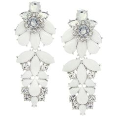 Lipsy Embellished Flower Drop Earrings (42 BAM) ❤ liked on Polyvore featuring jewelry, earrings, accessories, silver, silver jewellery, silver jewelry, silver drop earrings, silver earrings and drop earrings