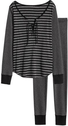 Pyjamas in jersey. Long-sleeved top with ribbed cuffs. Leggings with an elasticated waist and ribbed hems. Striped Pyjamas, Legging, Pajamas Women, Black Stripes, Long Sleeve Tops, Fashion Online, Kids Fashion, Clothes, Shopping