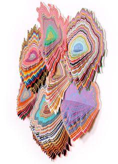 "jen stark: hand-cut paper sculptures 'vividity' 36"" x 30"" x 5"" acid-free hand cut paper, wood backing 2011"