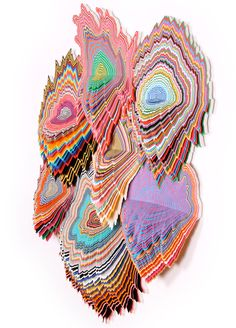 "jen stark: hand-cut paper sculptures 'vividity' 36"" x 30"" x 5"" acid-free hand cut paper, wood backing 2011                                                                                                                                                     Mais"