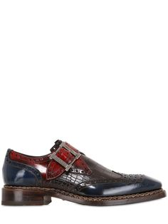 Harris Men's Brown Croc Embossed Leather Monk Strap Shoes.