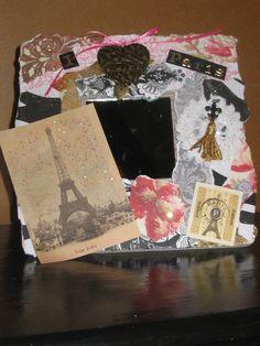 """Assembledge, Collage Mirror, Altered Art, Mixed Media, """"Paris"""",  Eiffel Tower, Vintage Image,  Heart Charm, Fleur de lis, ECS, Paris Apt. $20.00, via Etsy."""