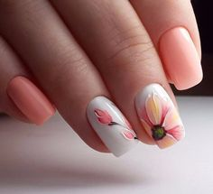 Nail art is a very popular trend these days and every woman you meet seems to have beautiful nails. It used to be that women would just go get a manicure or pedicure to get their nails trimmed and shaped with just a few coats of plain nail polish. Spring Nail Art, Nail Designs Spring, Spring Nails, Summer Nails, Nail Art Designs, Nails Design, Spring Art, Flower Designs For Nails, Summer Shellac Designs