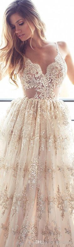 2016 Full Lace A Line Wedding Dresses Sexy Spaghetti Neck Backless Wedding Gowns Sweep Train Spring Beach Vintage Lurelly Illusion