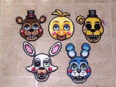 Items similar to Five Nights at Freddy's 2 Perler Bead Sprites (set of on Etsy Perler Bead Designs, Perler Bead Art, Pony Bead Patterns, Perler Patterns, Beading Patterns, Hama Beads, Fuse Beads, Fnaf Crafts, Beads Pictures