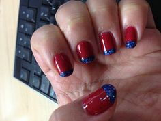 Cherry Red Polish With Blue Glitter Tips
