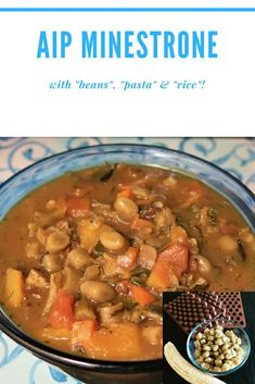 Have your and your beans, pasta and rice too with this minestrone recipe! Paleo Autoimmune Protocol, Pot Roast, Beans, Rice, Pasta, Ethnic Recipes, Food, Carne Asada, Roast Beef