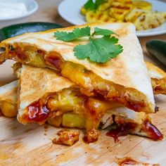 Grilled Chicken And Pineapple Quesadillas- these were very good. I don't have bbq sauce but I had some sweet bourbon sauce that worked nicely. I ended up serving these more as wraps than quesadillas
