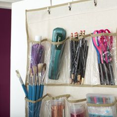 Over the door shoe organizers can also be used to store office supplies.