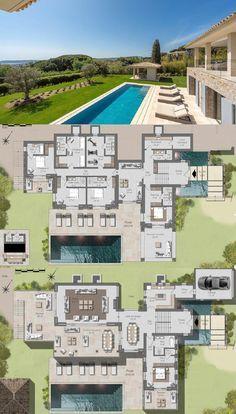 Modern Villa For Sale In Saint Tropez Near Tahiti Beach 430 Sqm Modern House Floor Plans House Plans Mansion Modern House Plans