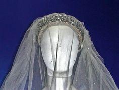 July Lady Diana Spencer marries Prince Charles at St. Princess Diana's diamond tiara and wedding veil with . Princess Diana Wedding Dress, Royal Wedding Gowns, Royal Weddings, Wedding Veils, Royal Tiaras, Royal Jewels, Charles And Diana, Prince Charles, Diana Fashion