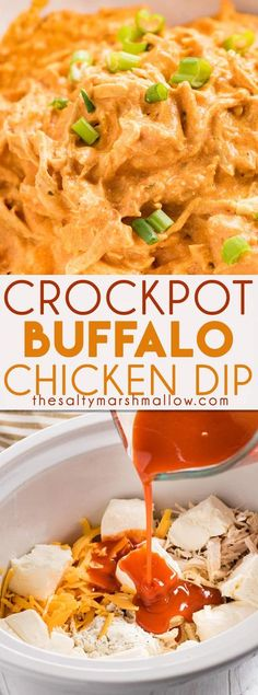 Creamy and cheesy Slow Cooker Buffalo Chicken Dip is everyone's favorite dip!  | Posted By: DebbieNet.com