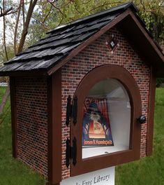 Brick facade little free library Little Free Library Plans, Little Library, Little Free Libraries, Mini Library, Library Books, Library Inspiration, Library Ideas, Fire Hall, Cedar Roof