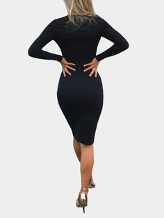Black Round Neck Long Sleeve Midi Dress
