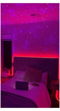 Bedroom Door Design, Cute Bedroom Decor, Room Ideas Bedroom, Hipster Room Decor, Bedroom Small, Neon Bedroom, Purple Bedrooms, Dream Rooms, Dream Teen Bedrooms