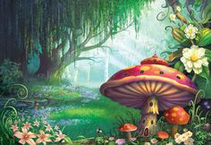 Adorn your wall with this magical Enchanted Forest wallpaper mural by Philip Straub. Made to measure, high-quality wallpaper. FREE UK delivery within 2 to 4 working days. Forest Mural, Forest Art, Magic Forest, Forest Decor, Forest Painting, Forest Theme, Fantasy World, Fantasy Art, Fantasy Forest