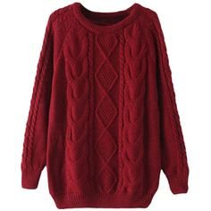 SheIn Women's Cable Knit Long Sleeve Loose Pullover Sweater (1.330 RUB) ❤ liked on Polyvore featuring tops, sweaters, shirts, loose sweater, long-sleeve shirt, cable pullover, loose shirt and red cable knit sweater