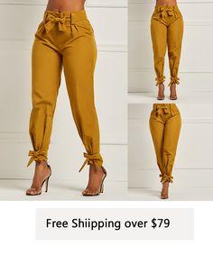 a288b7904678 Bowknot Plain Slim Pencil Pants Full Length Casual Pants